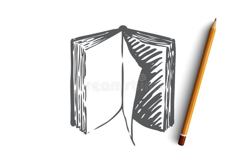 Bok som är öppen, papper, litteratur, kunskapsbegrepp Hand dragen isolerad vektor royaltyfri illustrationer