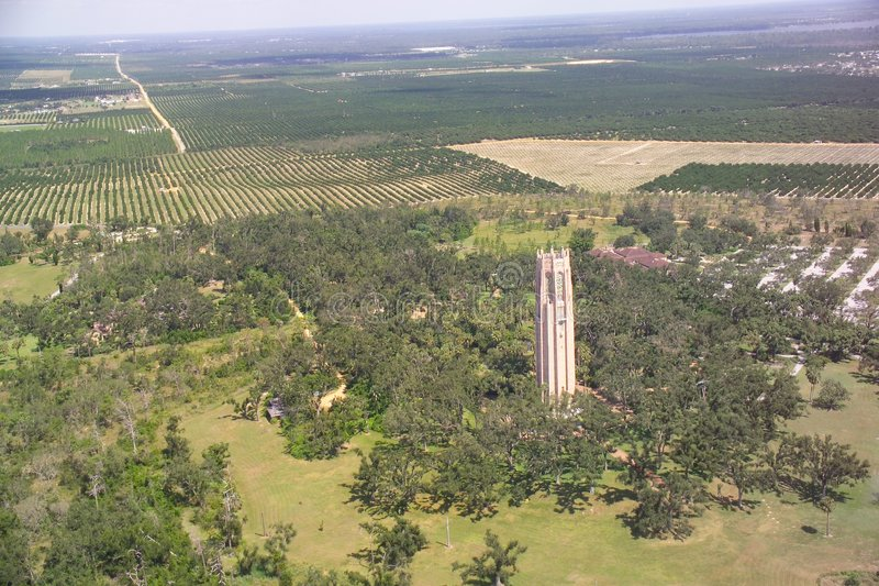 Bok Tower aerial view. royalty free stock images