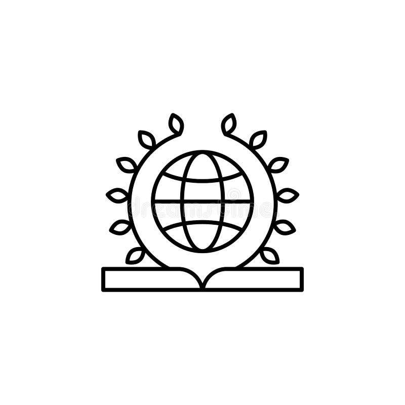 Bok universal, lagsymbol Beståndsdel av lag- och rättvisasymbolen Tunn linje symbol för websitedesignen och utveckling, app-utvec stock illustrationer