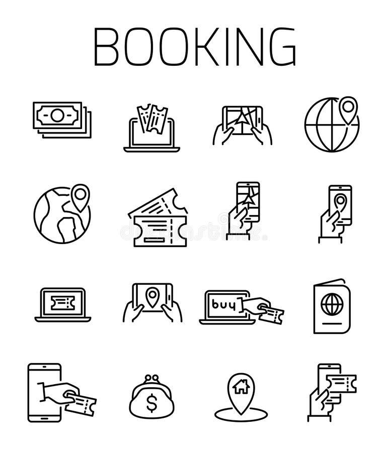 Boka den släkta vektorsymbolsuppsättningen stock illustrationer