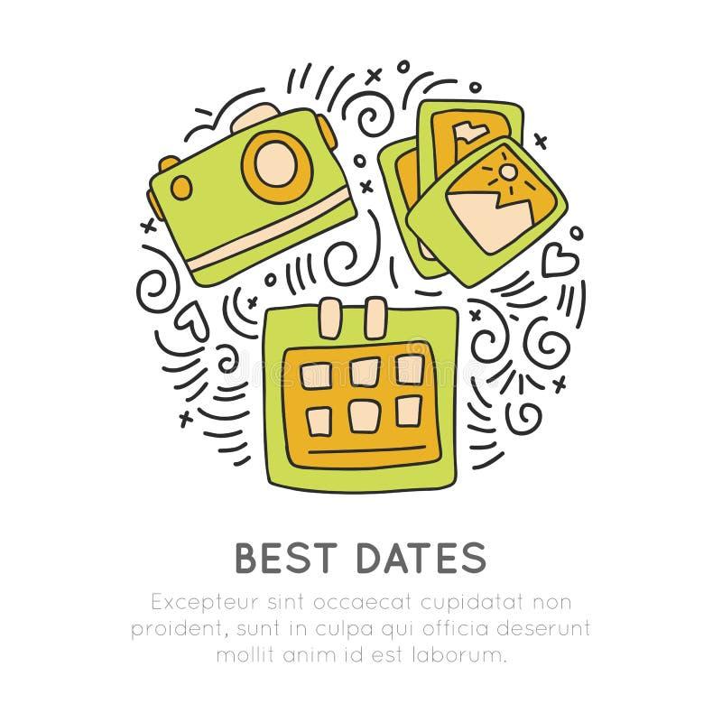 Boka i bästa dagar som reser symbolen Fotokamera, foto, kalendersymbol i cirkelform med dekorativa beståndsdelar Resor vektor illustrationer