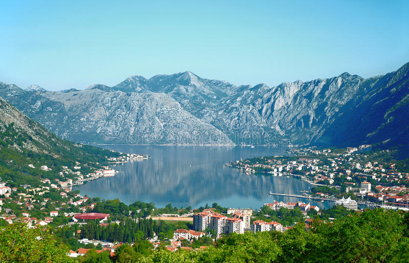 Boka Kotorska bay. Panorama from the mountain above stock photos