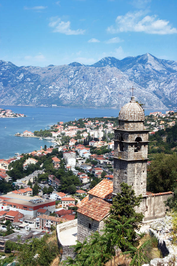 Boka Kotorska Bay. A view from above at Kotor and Boka Kotorska Bay in Montenegro stock photography