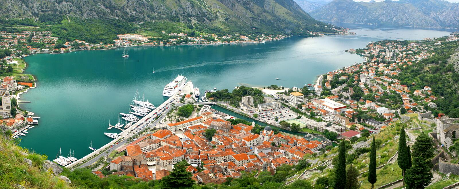 Boka-Kotorska bay, Montenegro. Panoramic view of Boka-Kotorska bay and Kotor city, Montenegro stock photos