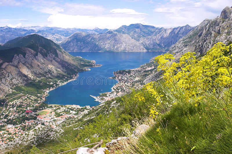 Boka Kotorska bay panorama. From the mountain above it showing also mountains and cities surrounding it stock photography
