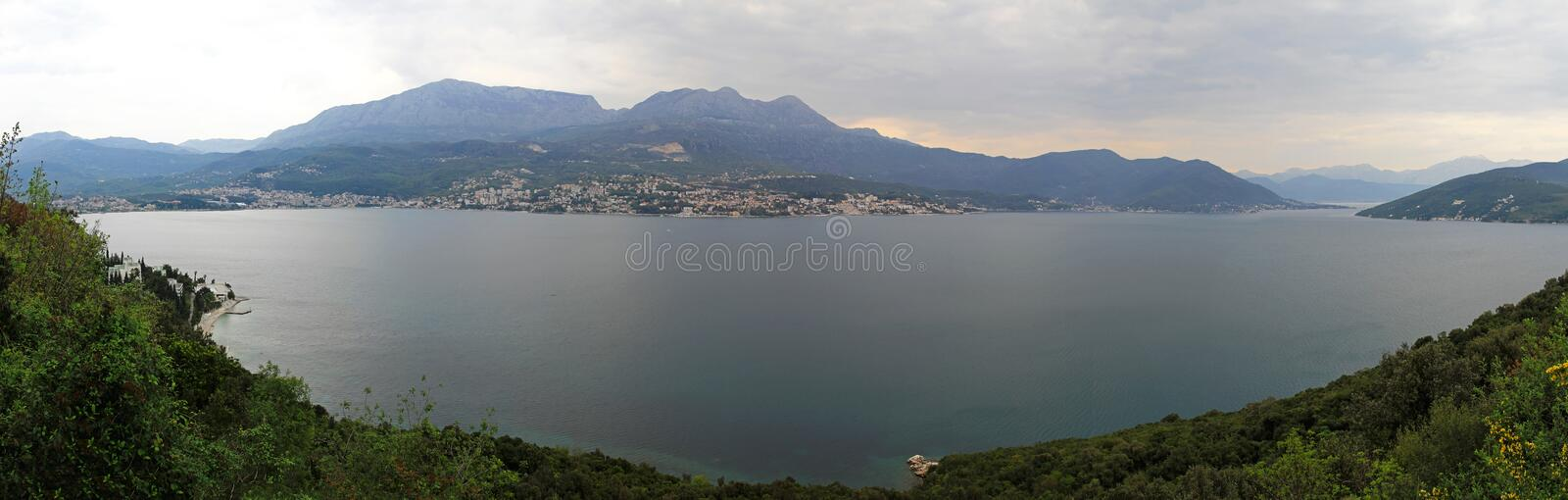 Boka Kotorska Bay. Panorama of Boka Kotorska bay in Montenegro stock photos