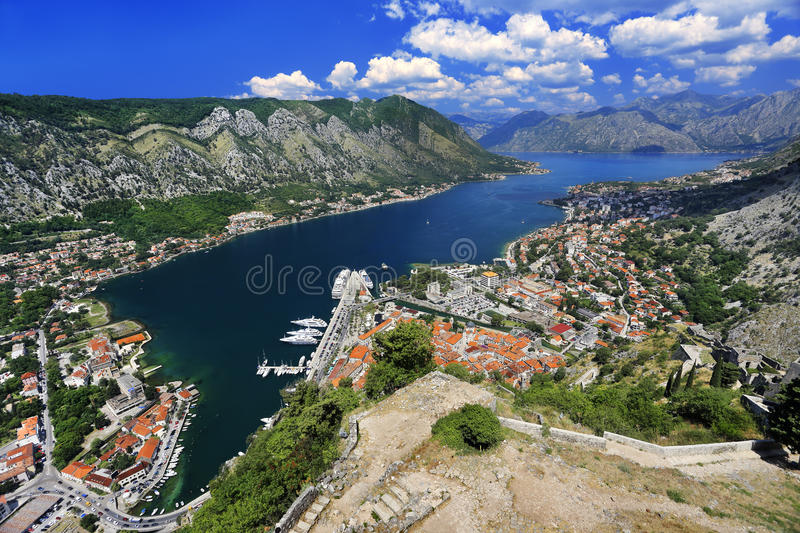 Boka Kotorska. Montenegro. Bay of Kotor. General view of Kotor, Mediterranean port located in a part of the Gulf of Kotor (Boka Kotorska). The Old Town of Kotor royalty free stock images
