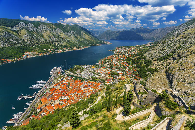 Boka Kotorska. Montenegro. Bay of Kotor (Gulf of Kotor, Boka Kotorska) and walled old city - general view from St. John's Fortress. Fortifications of Kotor is on royalty free stock images