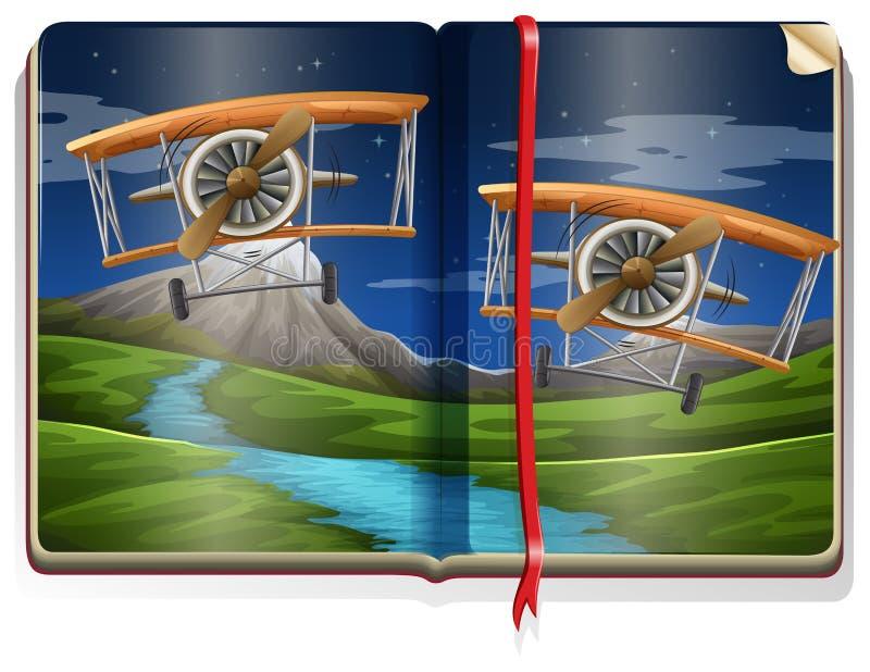 Boka med plats av nivåer som flyger över floden vektor illustrationer