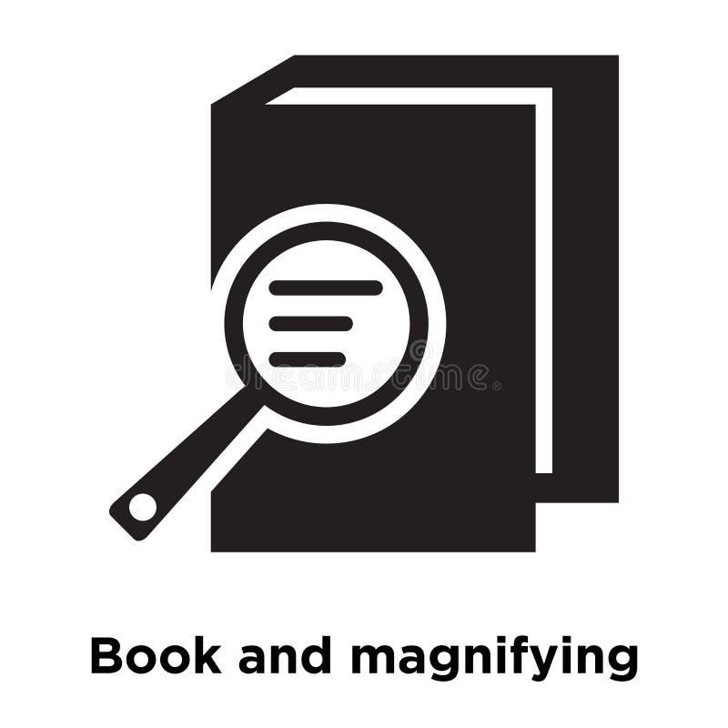 Boka och den förstorande symbolsvektorn som isoleras på vit bakgrund, lo stock illustrationer