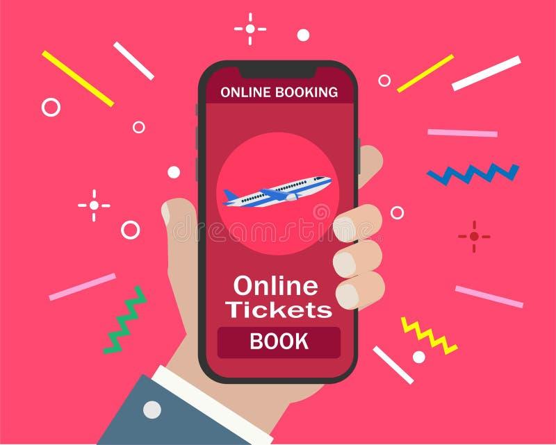 Boka online-den flyglopp eller biljetten stock illustrationer