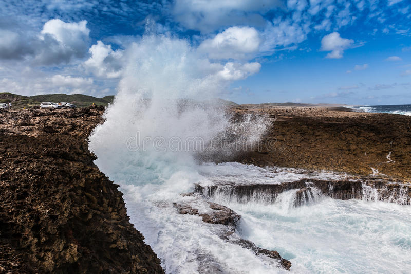 Boka Pistol. Crashing waves at National Park Shete Boka Curacao stock photo