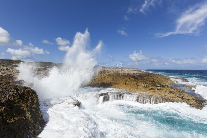 Boka Pistol, Shete Boka National Park Curacao. Waves crashing into Boka Pistol bay at Shete Boka National Park Curacao stock photos