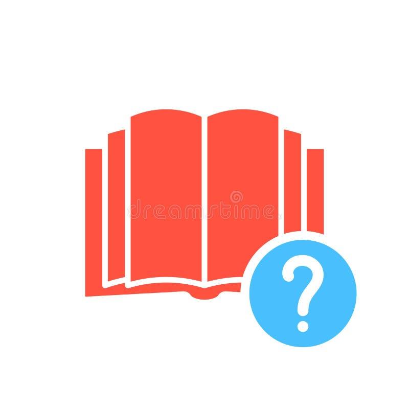 Boka symbolen, utbildningssymbol med frågefläcken Boka symbolen och hjälp, hur till, information, frågasymbol royaltyfri illustrationer