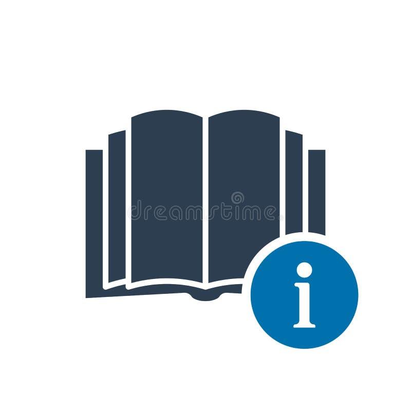 Boka symbolen, utbildningssymbol med informationstecknet Boka symbolen och omkring, faq, hjälp, förslagssymbol royaltyfri illustrationer