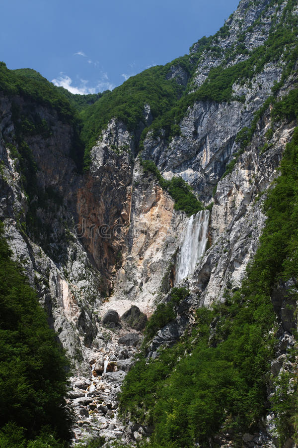Boka waterfall , Julian alps , Slovenia. Boka waterfall - with about 140m the biggest waterfall in Julian alps ( Slovenia stock photography