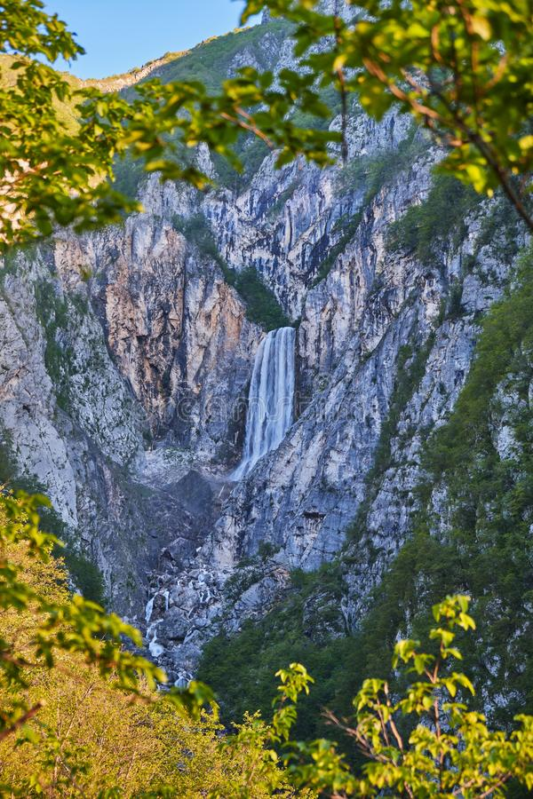 Boka waterfall in Slovenia. Image of Boka waterfall in Slovenia stock photography