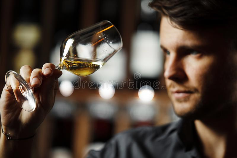 Bokal av vitt vin p? bakgrund, manlig sommelier som uppskattar drinken arkivfoton