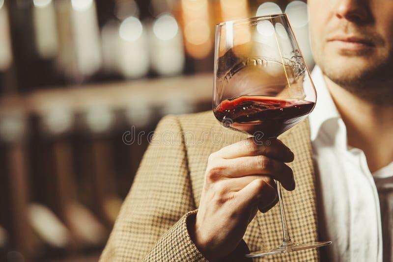 Bokal del vino rojo en el fondo, sommelier masculino que aprecia la bebida fotografía de archivo libre de regalías