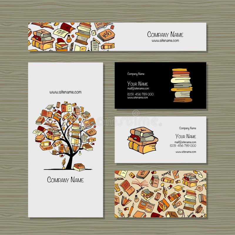 Bokar arkivet, affärskortdesign vektor illustrationer