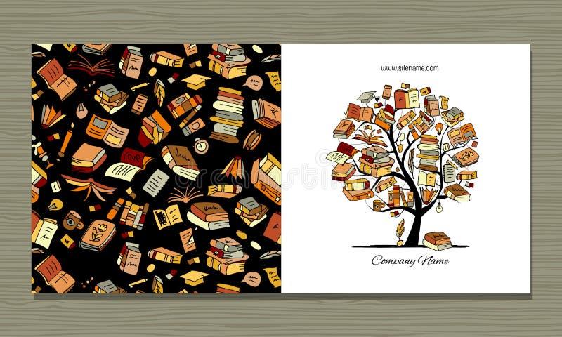 Bokar arkivet, hälsningkortdesign vektor illustrationer