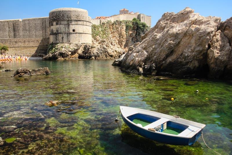 Bokar fort and city walls. Dubrovnik. Croatia. Bokar fort and city walls viewed from the pier. Dubrovnik. Croatia royalty free stock image