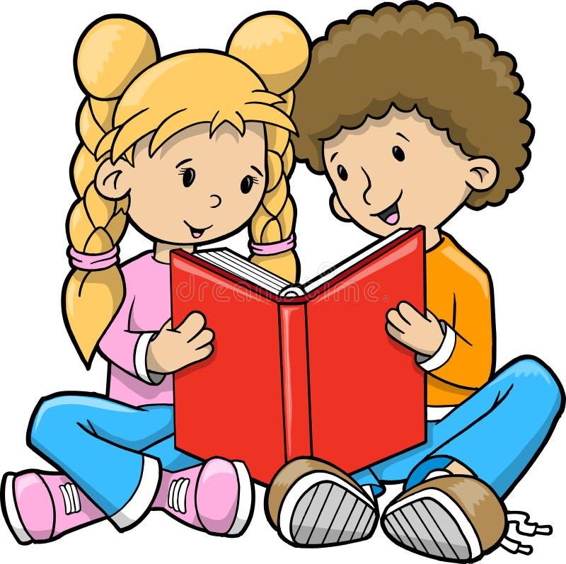 bokbarn som läser vektorn royaltyfri illustrationer