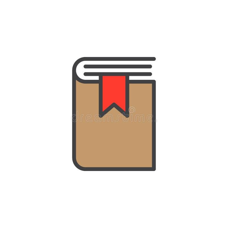 Bokbokmärkelinje symbol, fyllt översiktsvektortecken, linjär färgrik pictogram som isoleras på vit royaltyfri illustrationer