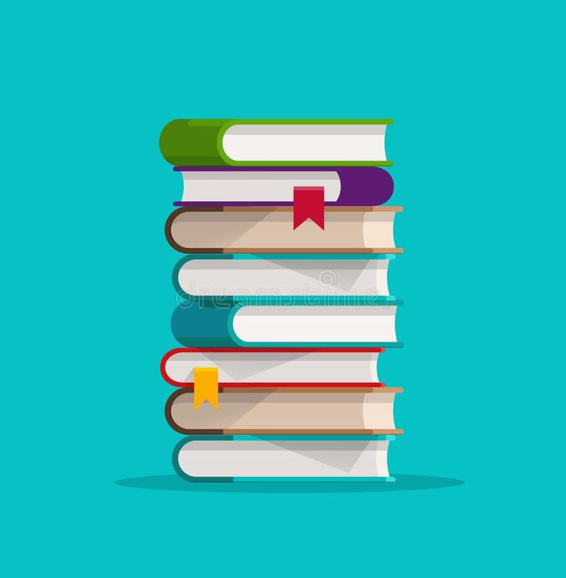 Bokbunten eller högvektorillustrationen, den staplade pappers- boken för den plana tecknade filmen isolerade clipart stock illustrationer