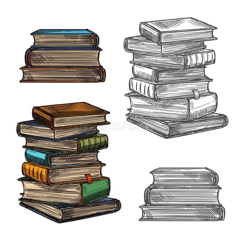 Bokbunten skissar för utbildning, litteraturdesign stock illustrationer