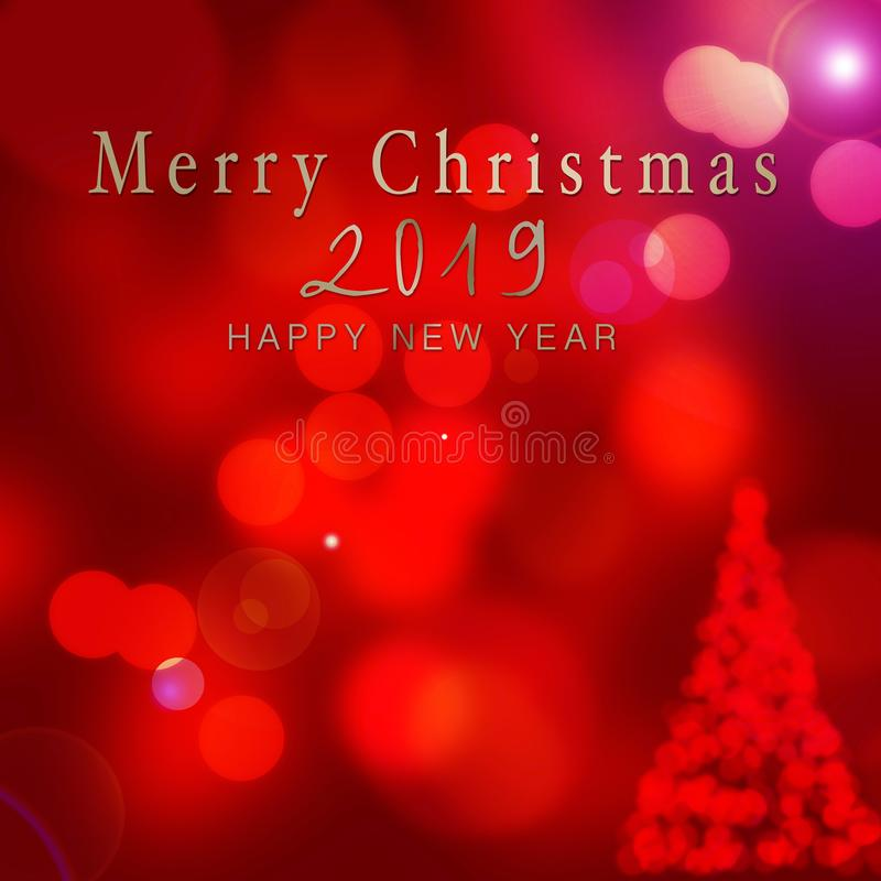 bokeh构造卡片-圣诞快乐和愉快的新的泪花 免版税库存照片