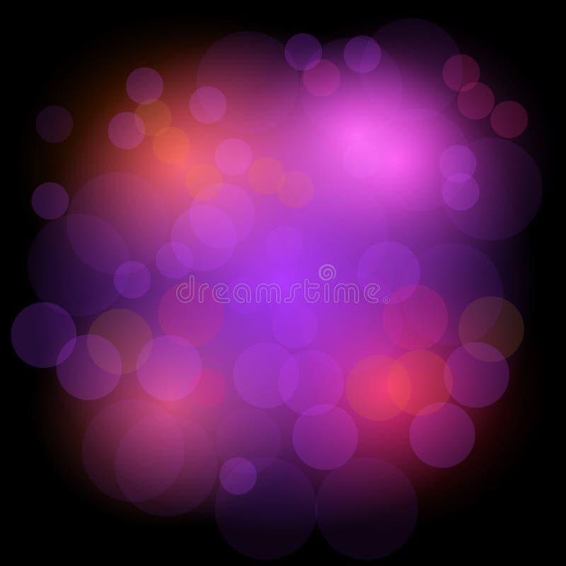 Bokeh点燃欢乐背景 抽象背景圈子 在色的亮点的设计背景 向量例证