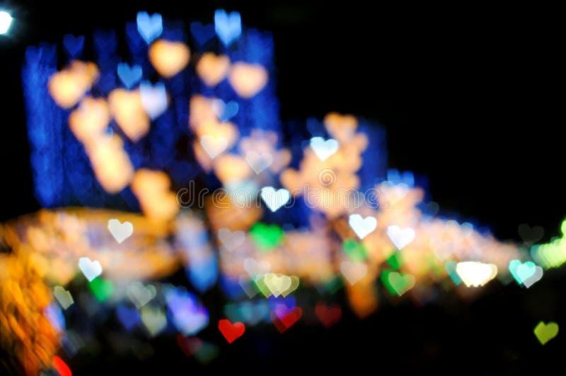 bokeh ζωηρόχρωμη σειρά καρδιών στοκ εικόνα