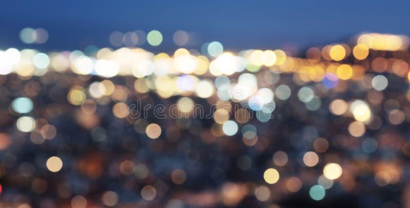 Bokeh ночи Барселоны стоковое фото rf