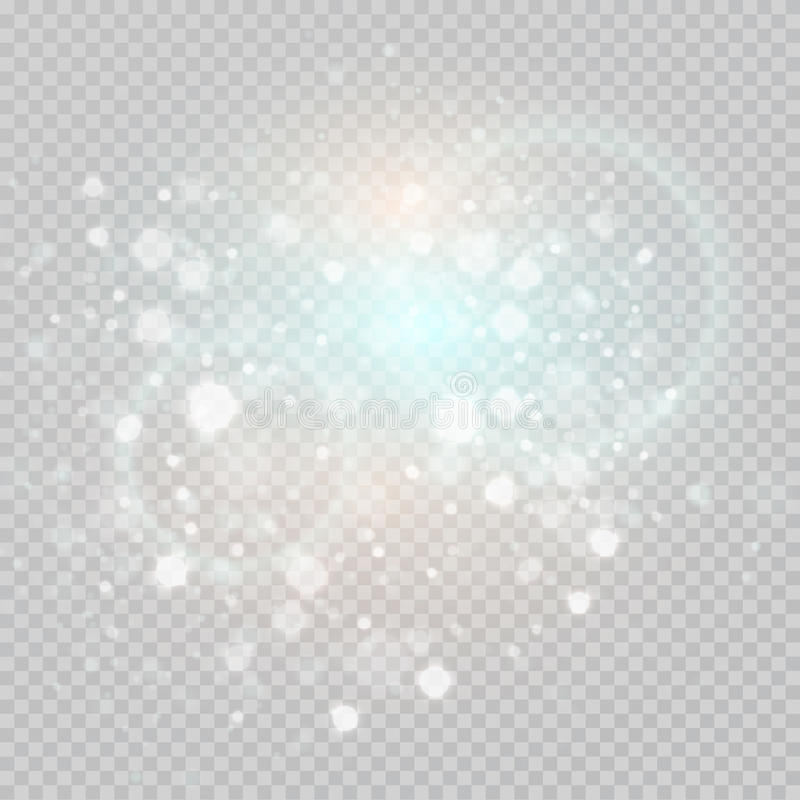 Bokeh освещает - серые sparkles на элементе частиц предпосылки прозрачности накаляя для специальных эффектов также вектор иллюстр иллюстрация вектора