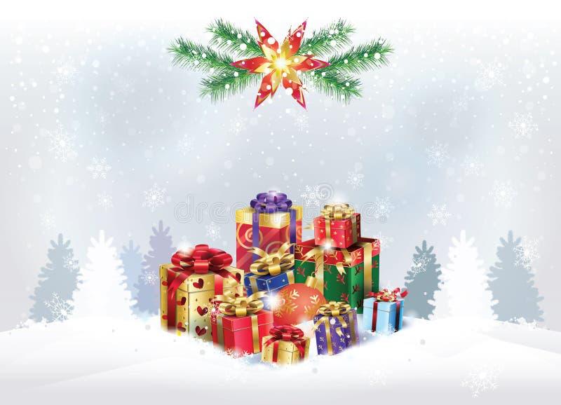 Bokeh подарочных коробок рождества серебряное освещает обои иллюстрация штока