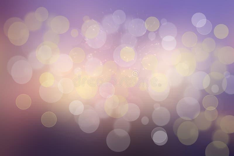 Пурпурное абстрактное bokeh Предпосылка пурпура и голубого градиента накаляя с яркими запачканными кругами и блестящими звездами  иллюстрация вектора