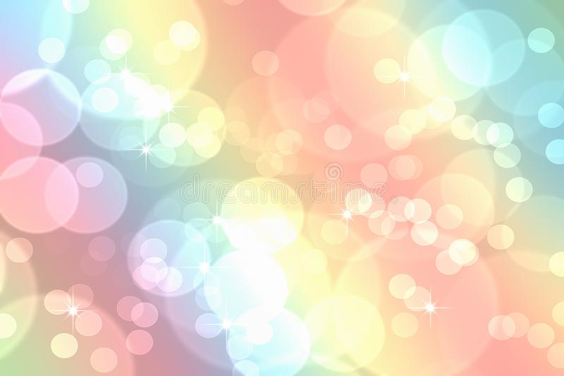 Bokeh In Abstract Rainbow Gradient Pastel Background Stock