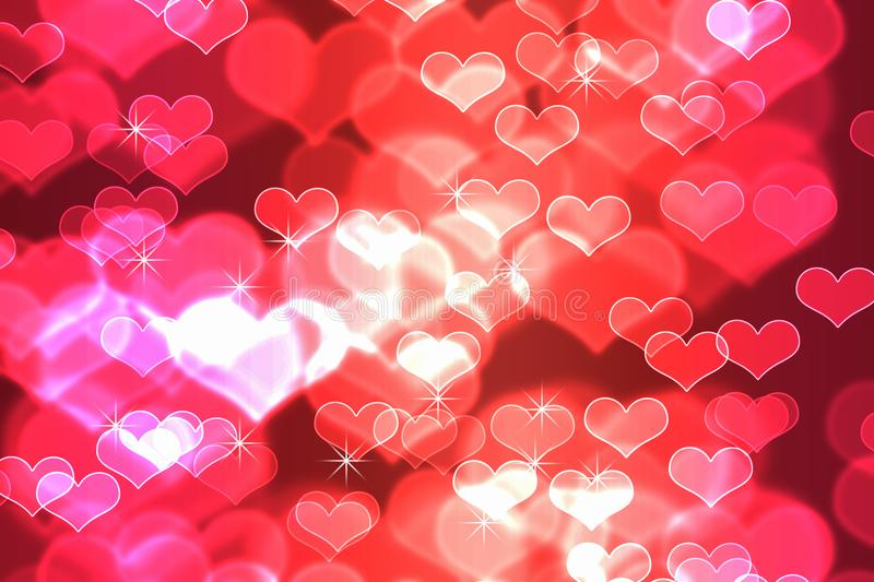 Bokeh in abstract red gradient background of valentine`s stock image