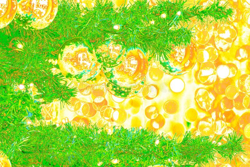 Bokeh-abstraction: New Years Eve postcard in pop art style. Against a background of copper-yellow bokeh stock illustration