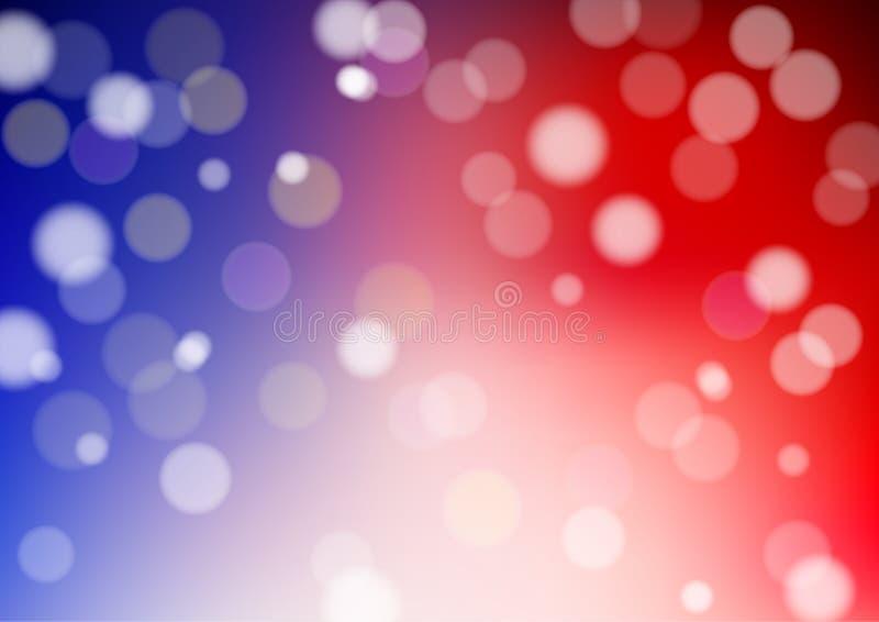 Bokeh abstrait Defocused de vecteur sur le fond de rouge bleu - illustration illustration stock