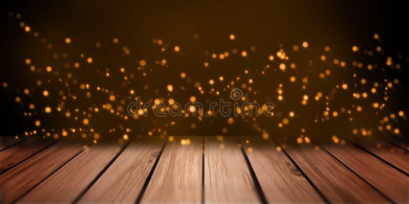 Bokeh anaranjado de las luces del extracto en la perspectiva de madera de la tabla del estante de la placa fotos de archivo libres de regalías