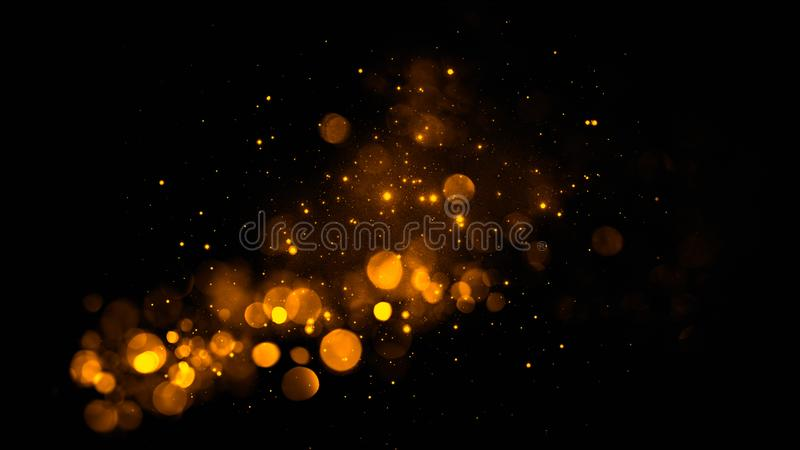 Abstract gold bokeh with black background. Merry Christmas background. glitter lights background. defocused. Bokeh asbract backround for Merry Christmas and royalty free stock images