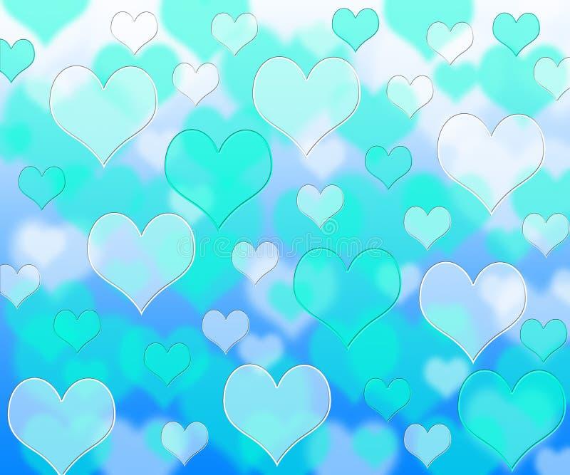 Bokeh blue hearts pattern. Colorfull pattern bokeh layers pattern background effect royalty free illustration