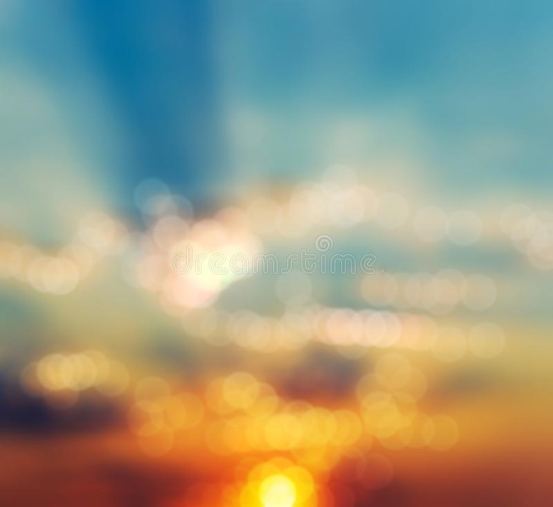 Bokeh blurred abstract background sunset sunrise. Blurry abstract background with bokeh effect, sunset and sunrise stock photos