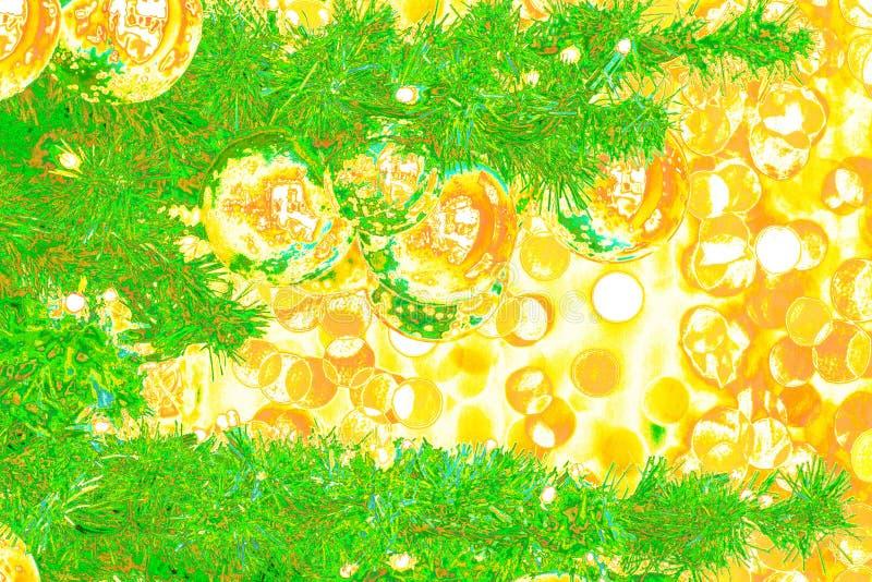Bokeh抽象:在流行艺术样式的除夕明信片 库存例证