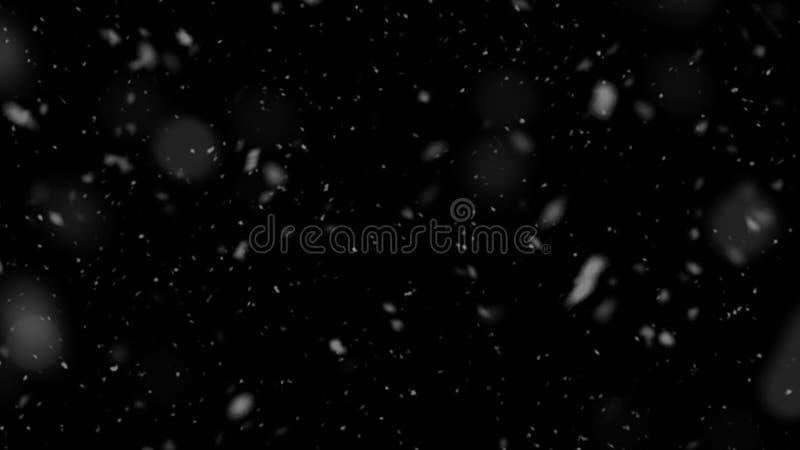 Bokeh branco caótico em um fundo preto, textura dos pontos claros, abstração, primeira neve de queda antes do Feliz Natal, SK est ilustração royalty free