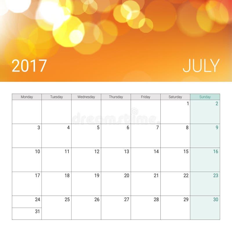 Bokeh calendário dourado do julho de 2017 ilustração do vetor