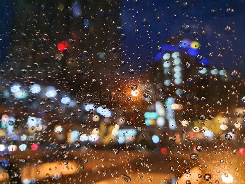 Bokeh, car lights at night, traffic jam in Bangkok, Thailand royalty free stock images