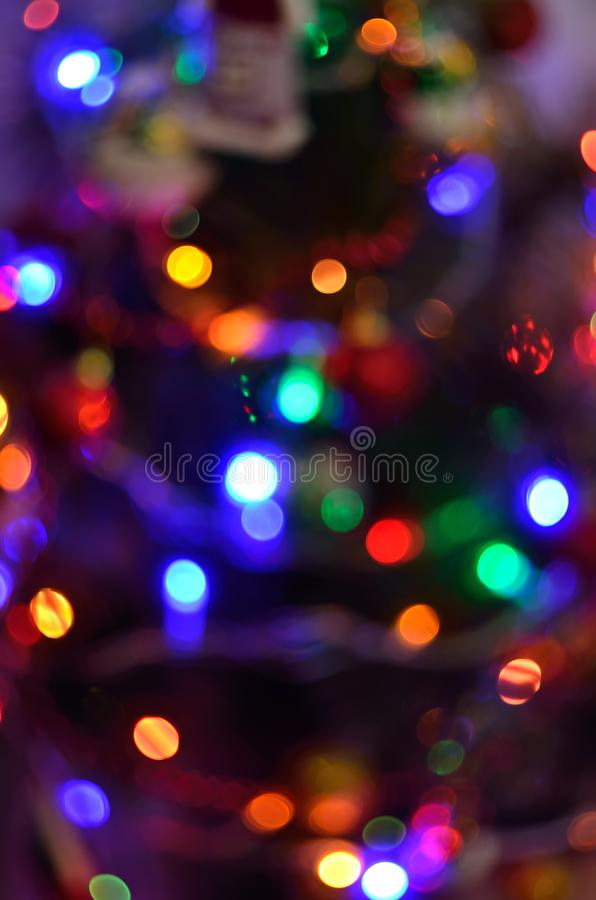 Bokeh  Christmas tree with light background. Colorful background royalty free stock photo